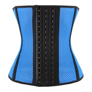 Blue 9 Steel Bone Breathable Gym Latex Waist Trainer Corset