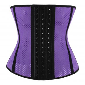 Purple 9 Steel Bone Breathable Gym Latex Waist Trainer Corset