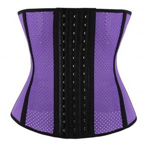 Purple 9 Steel Bone Breathable Gym Latex Waist Trainer Corset