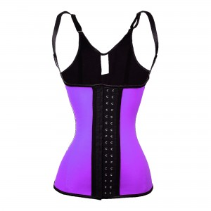 Purple 5 Steel Bone Over Shoulder Latex Trainer Corset