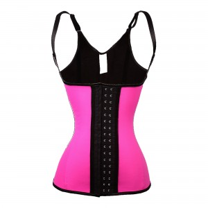 Pink 5 Steel Bone Over Shoulder Latex Trainer Corset