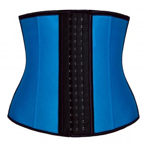 Blue 9 Steel Bone Latex Waist Trainer Corset