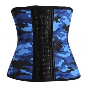 Blue 9 Steel Bone CamouflageLatex Waist Trainer Corset