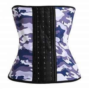 Purple 9 Steel Bone Camouflage Latex Waist Trainer Corset