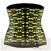 Yellow 4 Steel Bone Batman Latex Waist Trainer Corset Corset