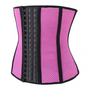 Pink 9 Steel Bone Breathable Gym Latex Waist Trainer Corset