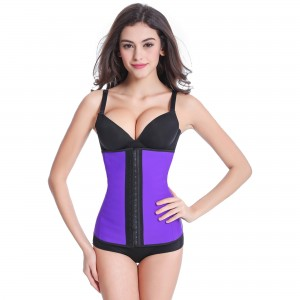 Purple 9 Steel Bone Latex Waist Trainer Corset