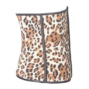 Yellow 4 Steel Bone Cheetah Latex Waist Trainer Corset