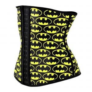 Yellow 4 Steel Bone Batman Latex Waist Trainer Corset