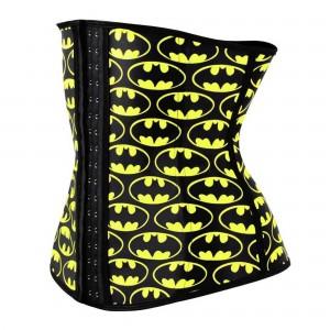 Yellow 4 Steel Bone Batman Latex Waist Trainer Corset
