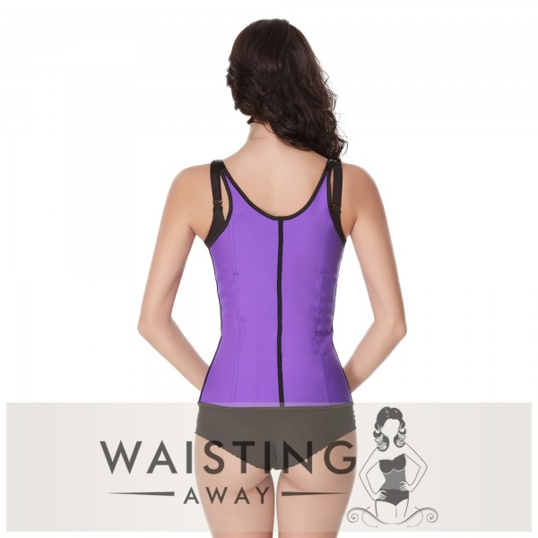 Purple 5 Steel Bone Over Shoulder Latex Trainer Corset Corset