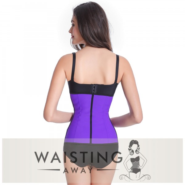 Purple 4 Steel Bone Latex Waist Trainer Corset Corset