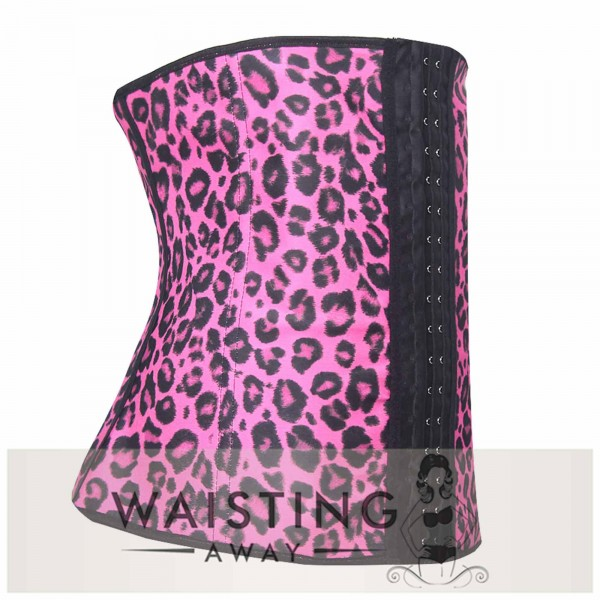 Pink 4 Steel Bone Cheetah Latex Waist Trainer Corset Corset
