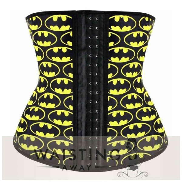 Yellow 4 Steel Bone Batman Latex Waist Trainer Corset Corset
