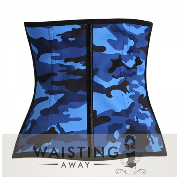 Blue 9 Steel Bone Camouflage Latex Waist Trainer Corset Corset