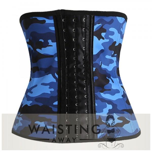 Blue 9 Steel Bone Camouflage Latex Waist Trainer Corset Corset