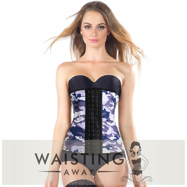 Purple 9 Steel Bone Camouflage Latex Waist Trainer Corset Corset